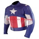 CAPTAIN AMERICA Motorcycle FIRST AVENGERS Biker Leather Jacket--Free Shipping