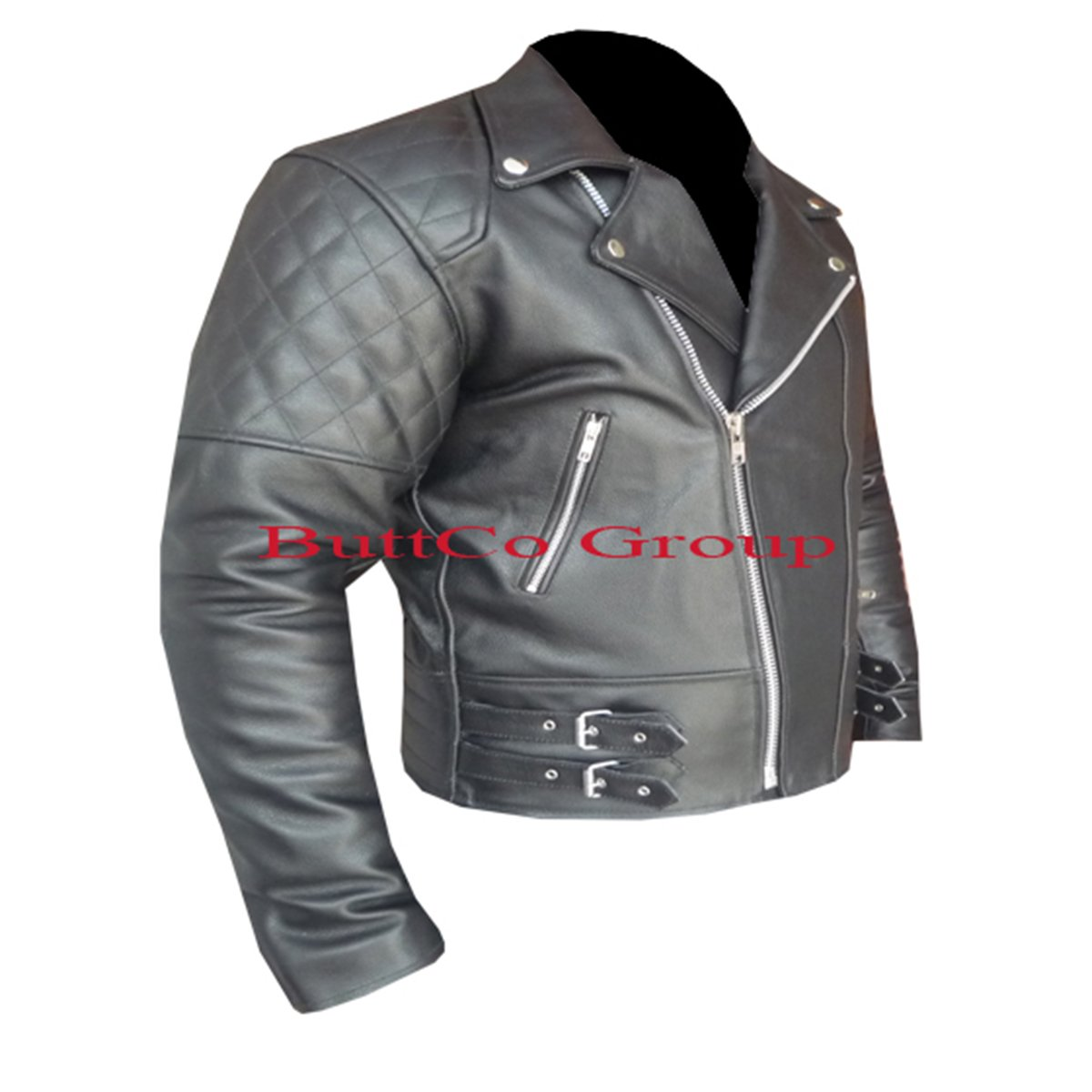 CUSTOM BLACK Motorcycle Cowhide Leather Safety Jacket -- Free Shipping