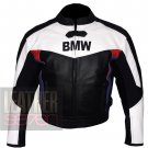 BMW 3878 Black White Pure Cowhide Leather Safety Racing Jacket For Bikers