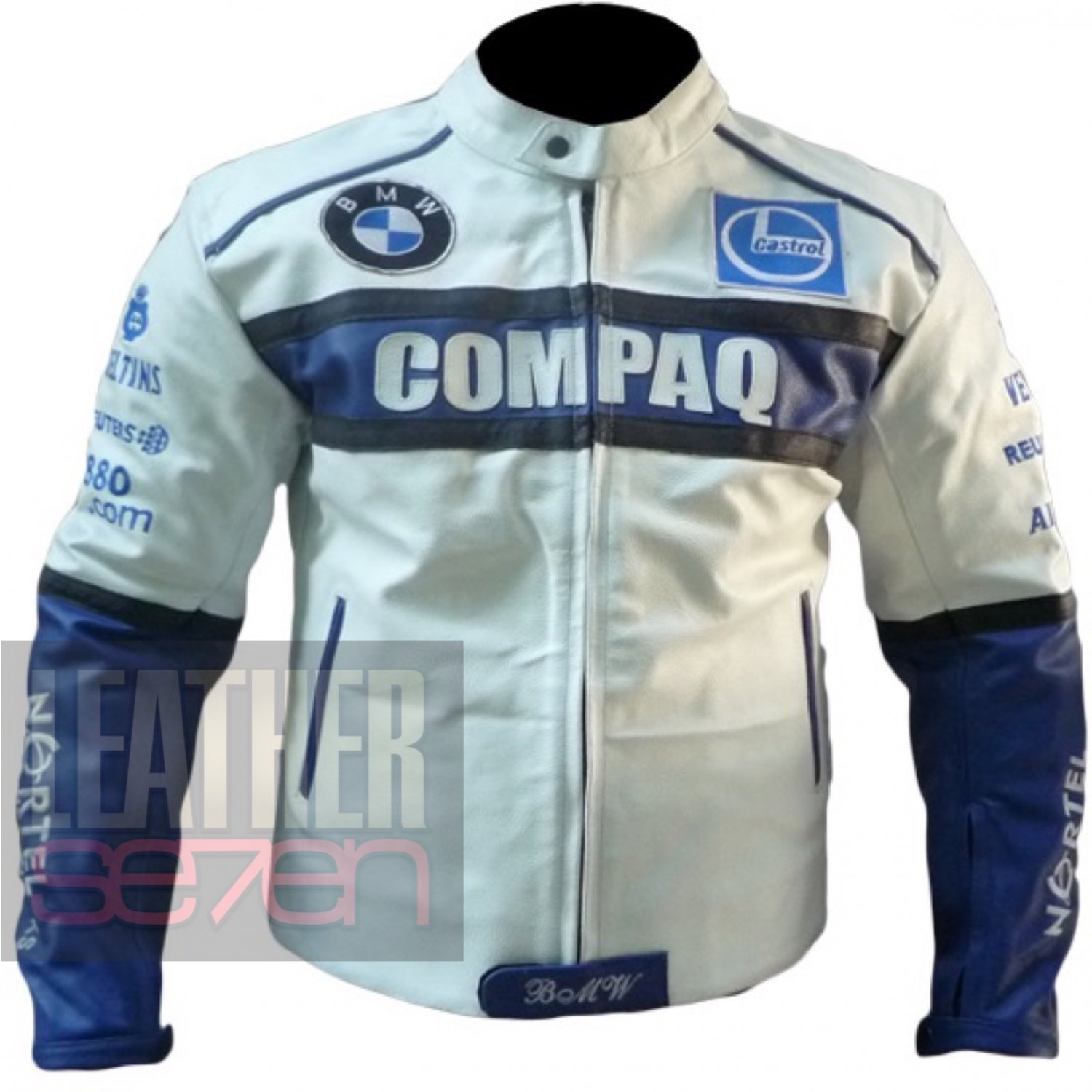 Excellent Quality Cowhide Leather Motorbike Safety Jacket ... BMW Compaq White