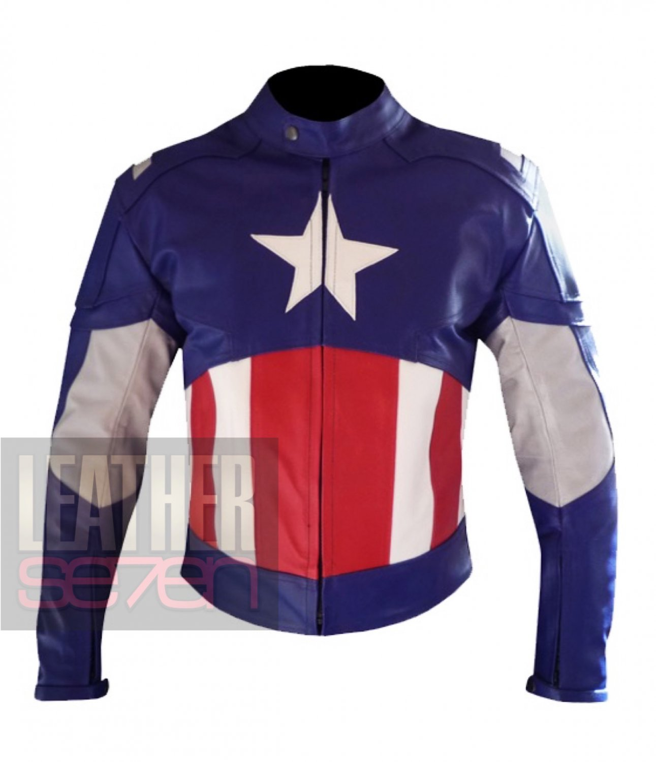 New Captain America Cowhide Leather Motorcycle Safety Jacket For Professional Bikers