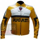 New Men's Designer Cowhide Leather Safety Racing Jacket ... Ducati 3039 Yellow