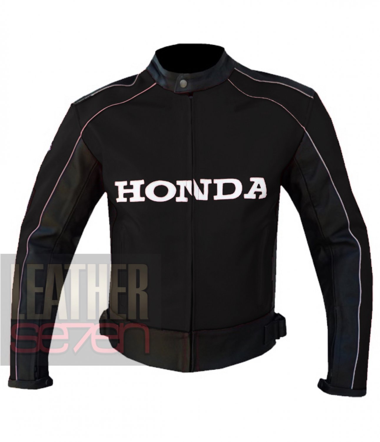 Honda 5523 Black Pure Cowhide Leather Safety Racing Biker Jacket By ButtCo Group