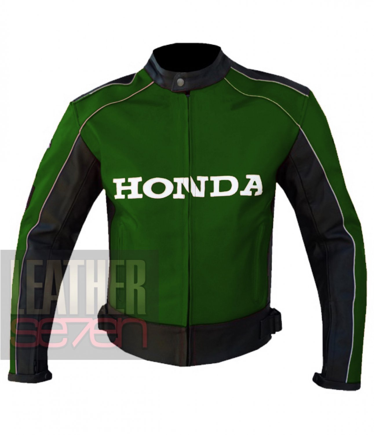 Honda 5523 Green Genuine Cowhide Leather Motorcycle Safety Jacket For Bikers