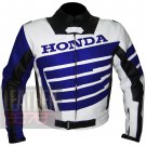 Honda 9019 Blue Leather Motorcycle Motorbike Biker Jacket