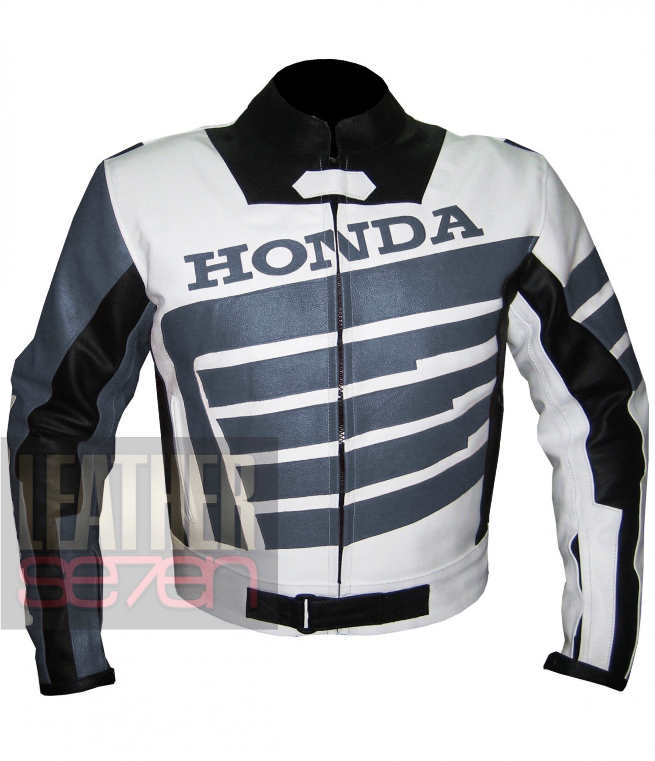 Honda 9019 Grey Pure Cowhide Leather Safety Racing Jacket For Bikers