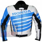 New Arrival Best Quality Pure Cowhide Leather Racing Jacket .. Honda 9019 Sky Blue
