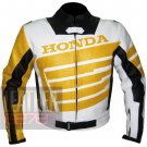 Honda 9019 Yellow Pure Cowhide Leather Safety Racing Jacket  For Bikers