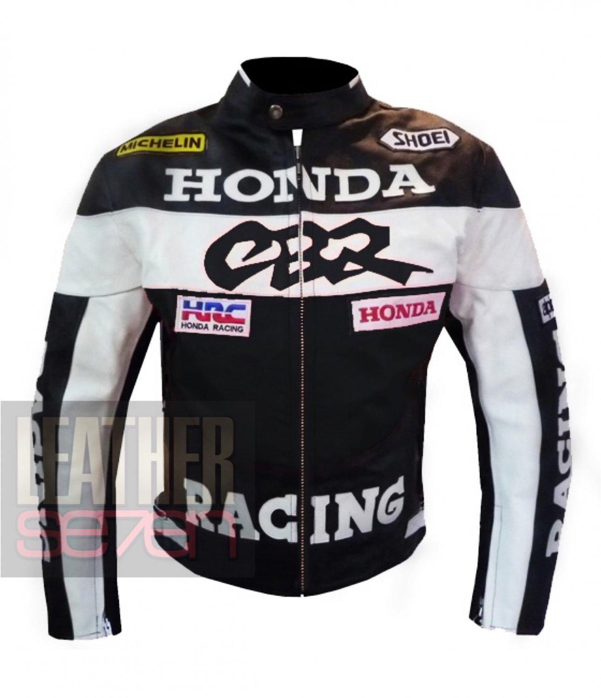 Honda CBR Black Original Pure Cowhide Leather Safety Racing Jacket For Bikers