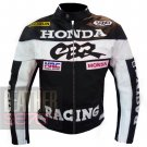 Honda CBR Black Original Pure Cowhide Leather Safety Racing Jacket For Bikers