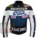 Honda CBR Navy Blue Pure Genuine Cowhide Leather Safety Racing Jacket For Bikers