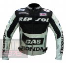 Honda GAS Repsol Black Pure Cowhide Leather Safety Racing Jacket For Bikers