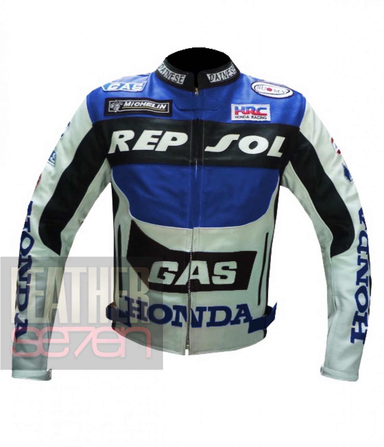 New Men's Fashion Outclass Cowhide Leather Safety Jacket .. Honda GAS Repsol Blue