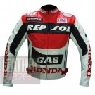 New Arrival Pure Cowhide Leather Safety Racing Jacket ... Honda GAS Repsol Red