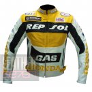 Honda GAS Repsol Yellow Pure Cowhide Leather Jacket For Professional Bikers