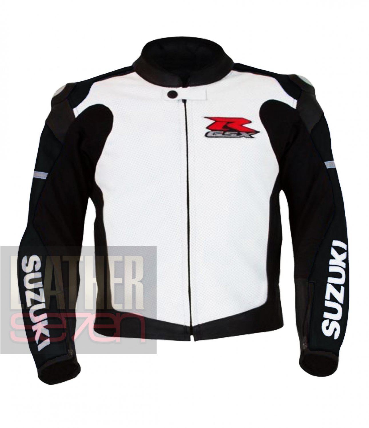 Suzuki 1078 Black Pure Cowhide Leather Safety Racing Jacket For Bike Racers