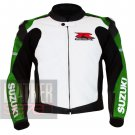 New Arrival Pure Cowhide Leather Safety Racing Jacket ... Suzuki 1078 Green