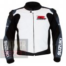 Outclass Pure Cowhide Leather Safety Racing Jacket .. Suzuki 1078 Grey Coat