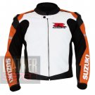 Suzuki 1078 Orange Pure Cowhide Leather Safety Racing Jacket By ButtCo Group
