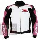 New Arrival Of Pure Cowhide Leather Safety Racing Jacket For Ladies Suzuki 1078 Pink