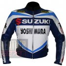 Suzuki 4212 Yoshimura Blue Pure Cowhide Leather Safety Jacket For Bikers