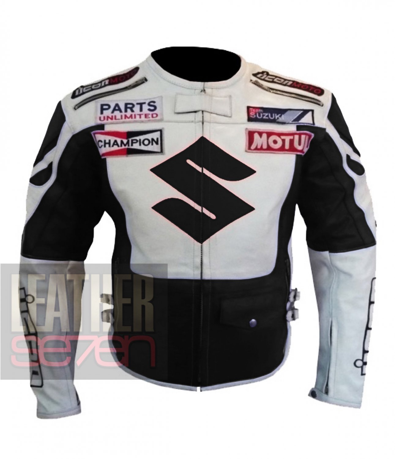 Suzuki 4269 Black 2 Pure Cowhide Leather Safety Racing Jacket For Bikers
