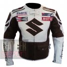 Suzuki 4269 Brown Pure Cowhide Leather Safety Racing Jacket For Bike Racers