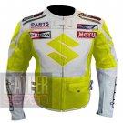 Best Pure Cowhide Leather Safety Racing Jacket ... Suzuki 4269 Fluorescent