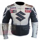 Suzuki 4269 Grey Genuine Cowhide Leather Safety Racing Jacket For Bikers