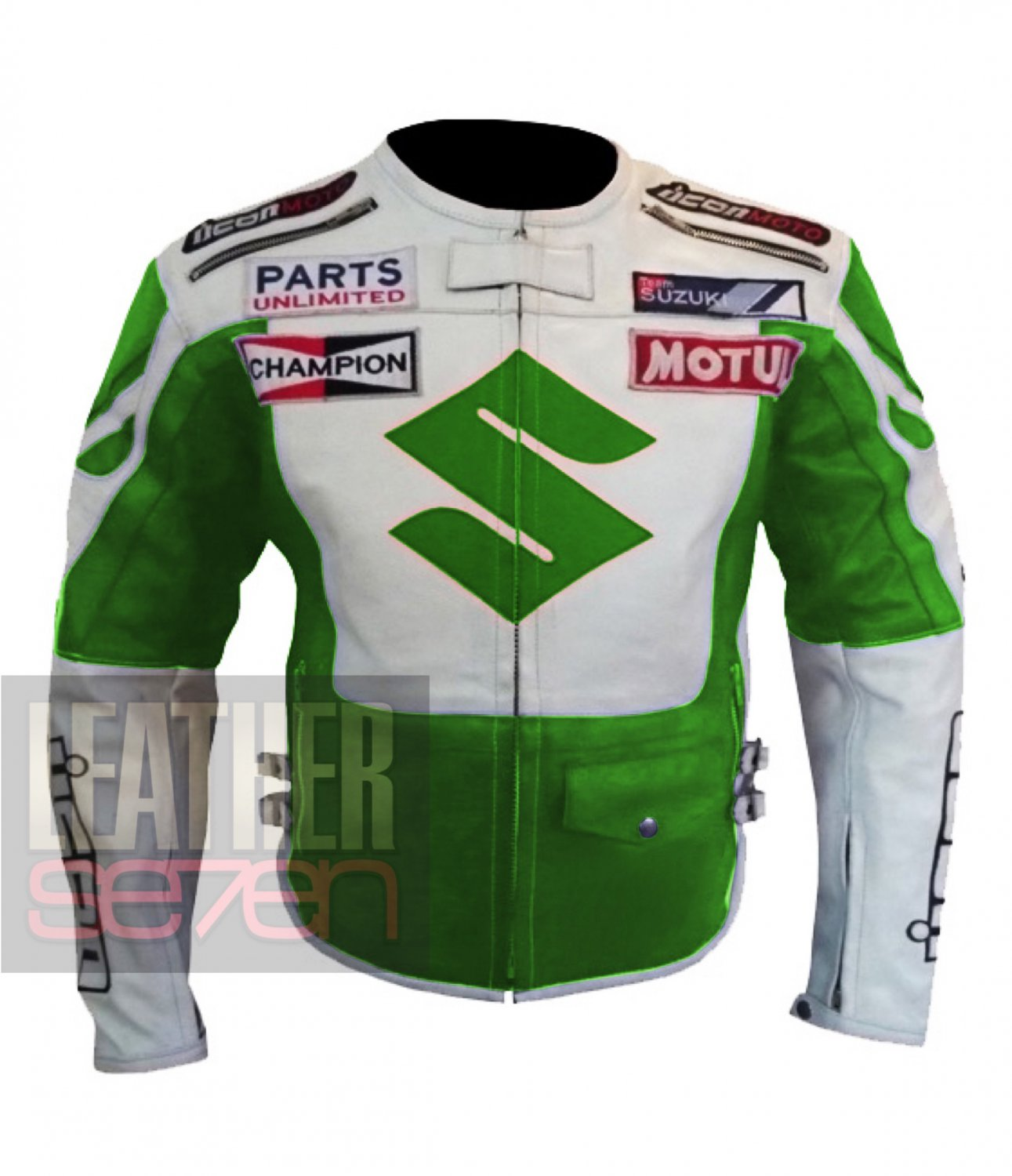 New Men's Pure Cowhide Leather Jacket Arrival ... Suzuki 4269 Icon Green Coat