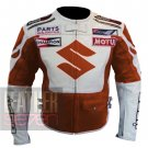 Suzuki 4269 Orange Pure Cowhide Leather Safety Racing Jacket For Bike Racers