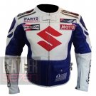 New Men's Fashion Design Cowhide Leather Jacket .. Suzuki Icon 4269 White