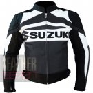 Suzuki GSX Gun Metal 100% Pure Cowhide Leather Safety Racing Jacket For Bikers