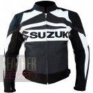 Suzuki GSX Gun Metal 100% Pure Cowhide Leather Safety Racing Jacket For Bikers