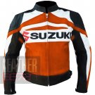 New Best Arrival Of Pure Cowhide Leather Safety Jacket Suzuki GSX Orange