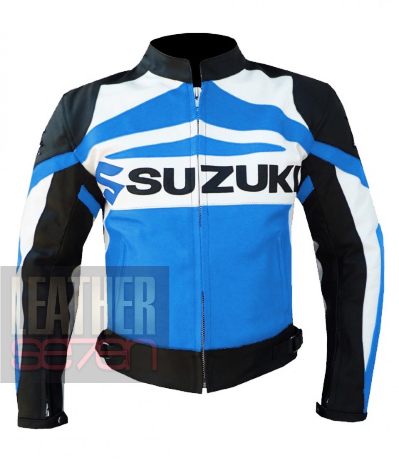 New Best Collection Cowhide Leather Safety Racing Jacket Suzuki GSX Sky Blue