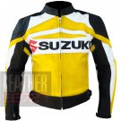 New Arrival Pure Leather Cowhide Jackets For Bikers ... Suzuki GSX Yellow
