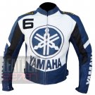 Yamaha 6 Blue Pure Cowhide Leather Safety Racing Jacket For Professional Racers