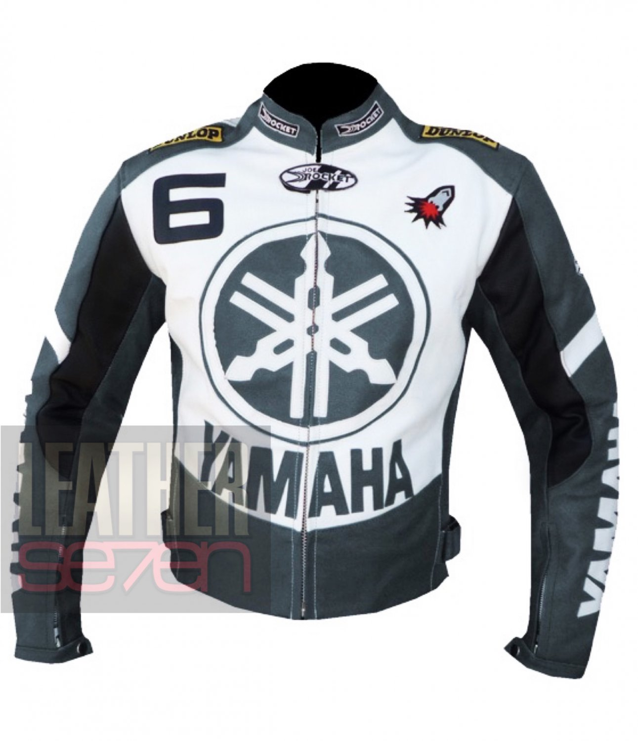 Pure Genuine Classic Cowhide Leather Safety Racing Yamaha 6 Grey Jacket