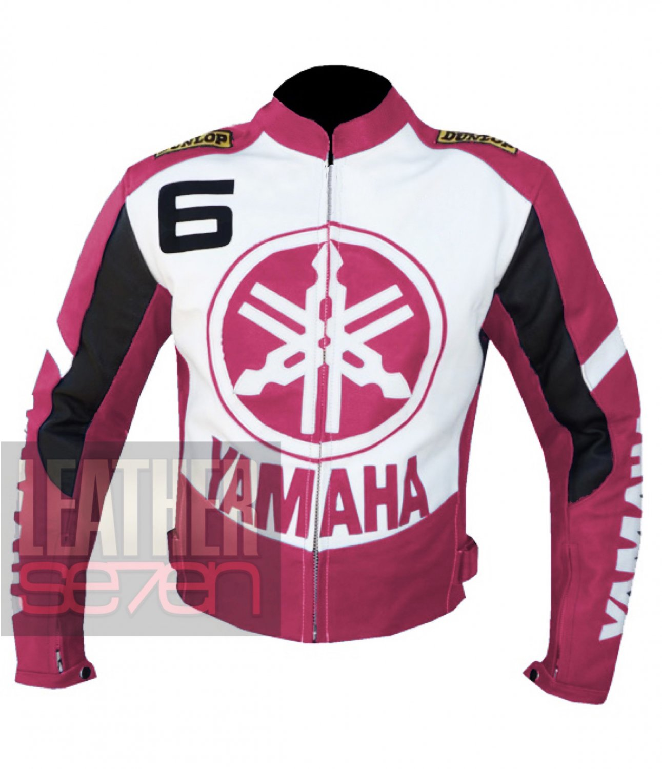 Best Quality Cowhide Leather Racing Safety Jacket For Bikers Yamaha 6 Pink