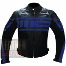 New Men's Designer Genuine Cowhide Safety Leather Yamaha 0120 Blue Jacket