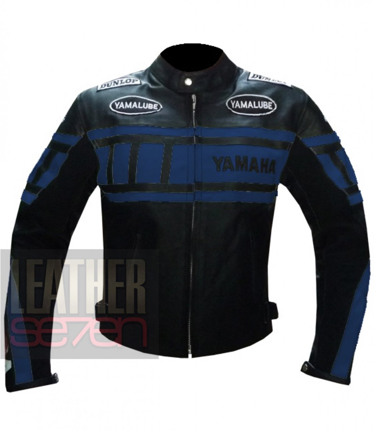 New Classic Safety And Pure Cowhide Leather Coat .. Yamaha 0120 Navy Blue Jacket