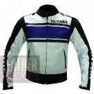 Yamaha 5241 Blue Pure Cowhide Leather Safety Racing Jacket For Bikers