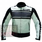 Yamaha 5241 Grey Genuine Cowhide Leather Safety Racing Jackets For Bikers