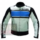 Best Quality Pure Cowhide Leather Racing Jackets .. Yamaha 5241 Sky Blue Coat
