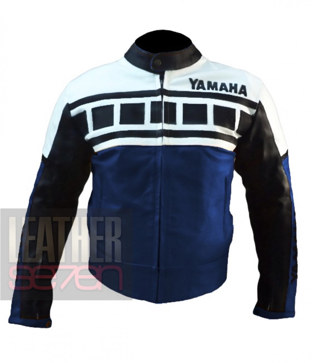 Yamaha 6728 Dark Blue Pure Cowhide Leather Jackets For Bike Racers