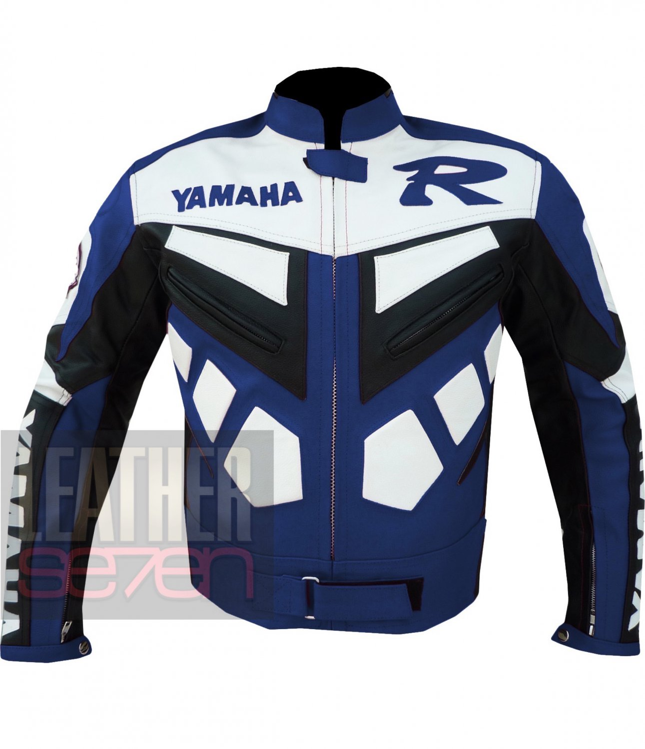 Best New Collection Of Pure Cowhide Leather Jackets .. Yamaha R Blue Coat