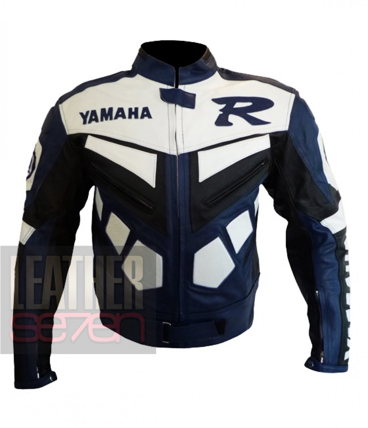 Yamaha R Blue 2 Pure Cowhide Leather Racing Jackets For Bikers by Buttco Group