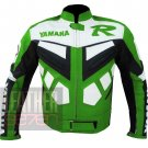 New Men's Classic Designer Pure Cowhide Leather Jackets .. Yamaha R Green