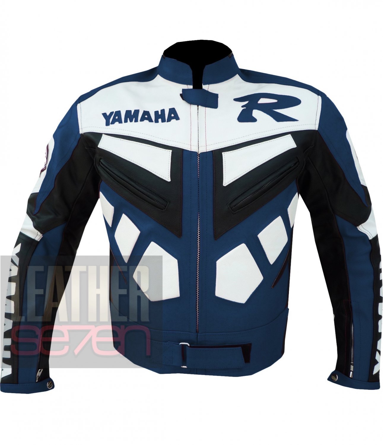 Genuine Leather Jackets For Motorcycle Riders .. Yamaha R6 Navy Blue Coats